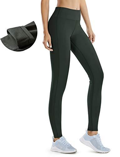 CRZ YOGA Damen Stretch Slim Strumpfhose Winter Fleece Dicke Wärme Leggings Sporthose Reißverschlusstaschen -71cm Olivgrün - Reißverschlusstaschen 36