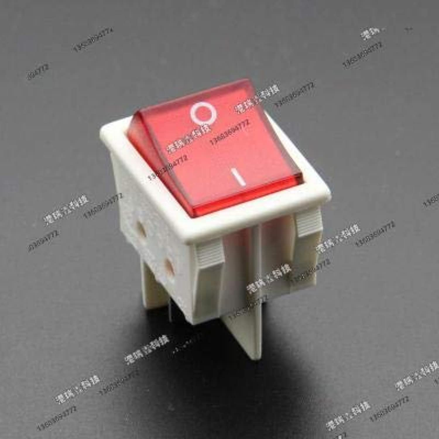 [SA]Canal Power Rocker Switch Light Yellow Green RED Black Border Exchange Large R210-C5L Rocker Switch Toggle R210 4P-50pcs(color  White-RED, Voltage  220V)