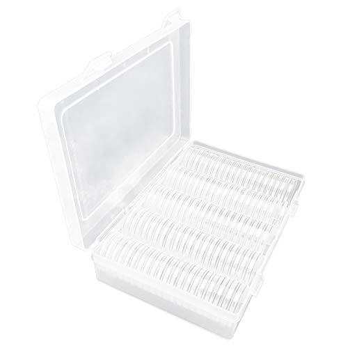 100 Stück Münze Kapseln Runde 30 mm Kunststoff Münzkapseln Münzhalter mit Aufbewahrungsbox für Münzsammlung