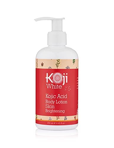 Koji White Kojic Acid Skin Brightening Body Lotion – Natural Moisturizer & Glowing – Dark Spots, Uneven Skin Tone 8.45 Ounce Bottle