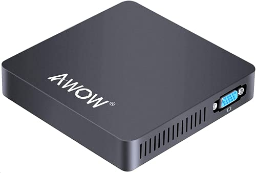 Mini PC AWOW Mini Desktop Computer Windows 10 Home/Ubuntu Linux (Optional), Intel Celeron N3350 with 6GB DDR3 64GB eMMC, Support 4K HD, Dual Band WiFi, Gigabit Ethernet, BT4.2