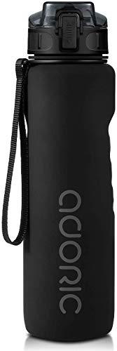 ADORIC Botella Agua Deporte Botella Agua Gimnasio Plastico con Filtro 500ml a 1000ml - No Tóxico sin BPA con Tapa Abatible (Negro 1000ml)