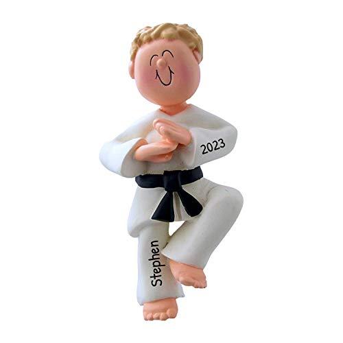 Personalized Karate Boy Christmas Tree Ornament 2020 - Blonde Man Athlete Belt in Pose School Taekwondo Judo Teacher Hobby Children Grand-Son - Free Customization (Yellow Hair Male)