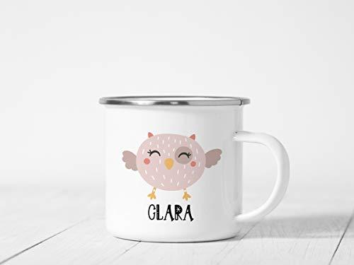 Taza de camping esmaltada, taza de esmalte personalizado, taza de esmalte personalizada para niños, tazas de té de café de esmalte de metal para acampar senderismo mochilero