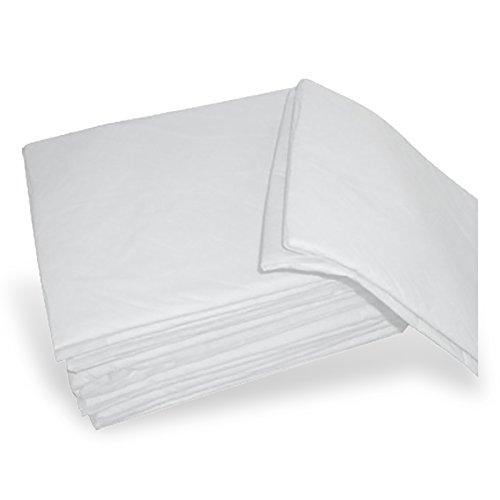 AIESI® Lenzuola (Coprimaterasso) monouso singolo in TNT bianche con angoli elastici dimensioni 140x240 cm (Scatola da 100 pezzi) # Confezionate singolarmente
