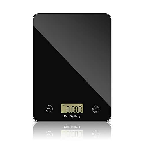 Putron Balance Cuisine Electronique Balance de Précision, Balance de Alimentaire Multifonctionnel, Balance de Cuisine Numérique de 11 LB / 5 kg , avec Plateforme en Verre Trempé, Fonction de Tare