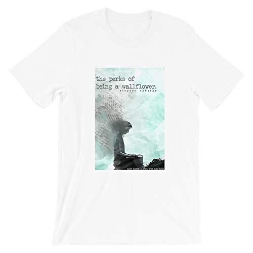 The Perks of Being a WallFlower Stephen Chbosky Watercolor Cover Typewriter Vintage Gift Men Women Girls Unisex T-Shirt (White-S)