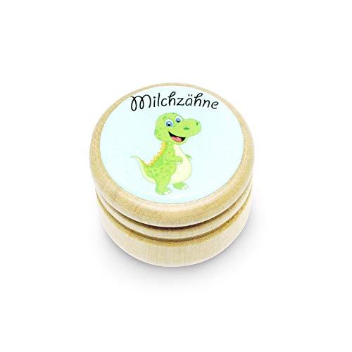 Milchzahndose, Zahndose Milchzähne Bilderdose aus Holz mit Drehverschluss in diversen Motiven für Jungen und Mädchen mit Drehverschluss 44 mm (DINO) -Made in EU-7014
