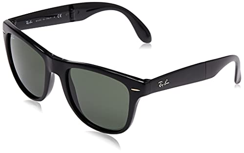 Ray-Ban RB4105 Folding Wayfarer Polarized Sunglasses, Black/Crystal Green, 50 mm
