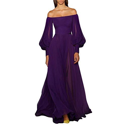 Damenkleid Einfarbige Mode One Shoulder Laternenärmel Big Swing Long Skirt Dress DressSmall