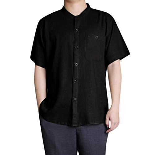ZZBO Tshirt Herren Baumwolle Leinen T Shirt Herren Kurzarmshirt Oberteil Basic Tee Button O-Neck Kurzarm T-Shirt Herren Casual Sommer Top Rundhals T-Shirts Freizeit Bequem Slim Fit M-3XL