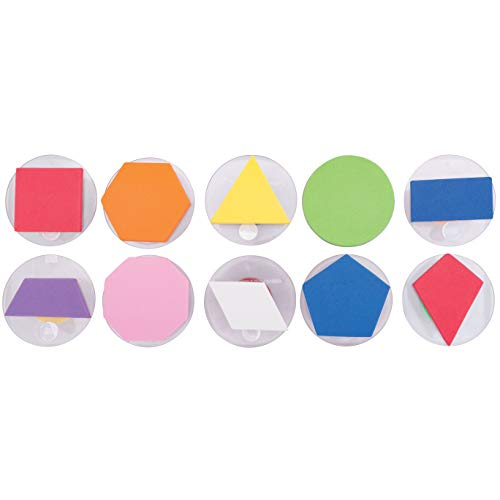 READY 2 LEARN - CE6735 Giant Stampers - Geometric Shapes - Filled in - Set of 10 - Easy to Hold Foam Stamps for Kids - Arts and Crafts Stamps for Displays, Posters, Signs and DIY Projects, 3 in Dia