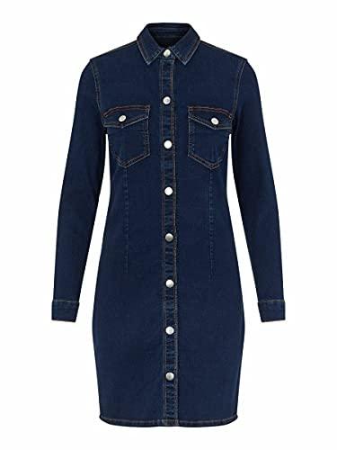 PIECES PCSILIA LS Dress-Vi BC Vestido Informal, Dark Azul Denim, M para Mujer