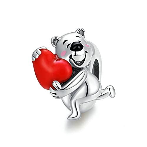 LIJIAN DIY 925 Sterling Jewelry Charm Beads Oso Polar con Corazón Hacer Originales Pandora Collares Pulseras Y Tobilleras Regalos para Mujeres