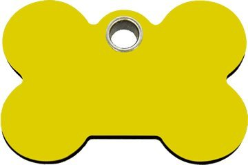 Red Dingo Flat Plastic Engraved Dog ID Tag - Bone Medium/Yellow