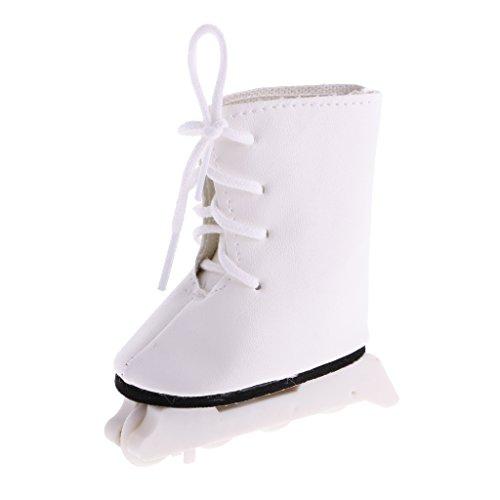 MagiDeal Mode Rollschuhe Schuhe mit Spitzen bis Schnürsenkel für Amerikanische Mädchen Puppen 7cm - Weiß 2