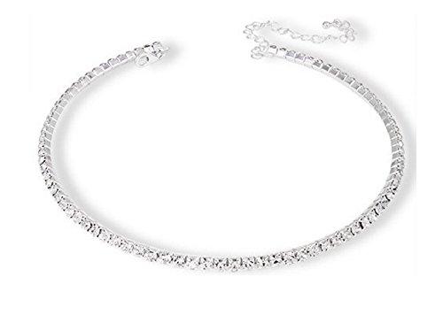 Collana girocollo placcata argento con zirconi, per damigella d'onore o per ballo di fine anno, placcato argento, colore: Silver