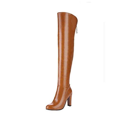 Artfaerie Damen Blockabsatz High Heels Stiefel Langschaft mit Reissverschluss Overknee Boots Elegant...