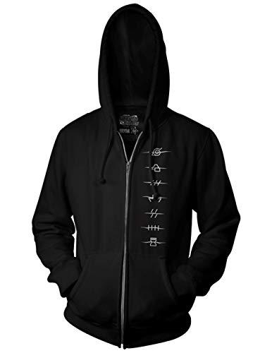 Ripple Junction Naruto Shippuden Adult Anti Village Symbols Full Zip Fleece Hoodie 2XL Black