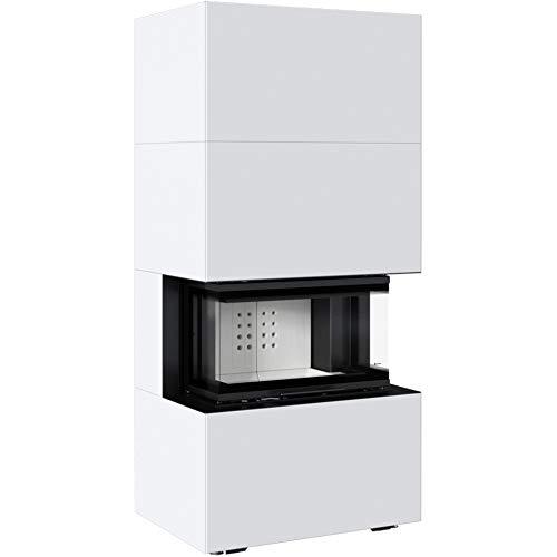 Kratki Home Easy Box Kamin-Ofen Stahl-Verkleidung weiß hochschiebbar Fertig-Bausatz 7kw Bauart 2 160mm Abgasstutzen-Durchmesser