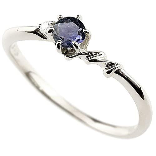 [アトラス]Atrus 指輪 レディース 18金 ホワイトゴールドk18 アイオライト ダイヤモンド イニシャル ネーム M ピンキーリング 華奢 アルファベット 11号