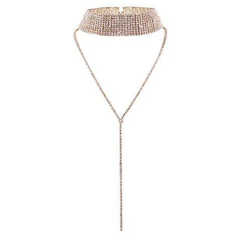 Missgrace Women Fashion Party Rhinestone Crystal Choker Necklace Wedding Full Diamond (Gold)