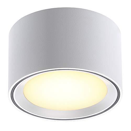 Nordlux LED-Deckenleuchte FALLON, Höhe 6cm, Ø 10cm, 8.5W 2700K 500lm 110°, 3-Stufen-MOODMAKER Schaltung, Dimmbar, Weiß EEK: A++ - A