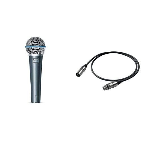 Shure Beta58A Microfono Supercardioide Di Alta Qualità & Proel BULK250LU10 Cavo Professionale Bilanciato per Microfono con connessioni presa volante Cannon XLR 3P Maschio a spina volante Cannon XLR