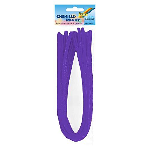 folia 77832 - Fil chenille - Lot de 10 cure-pipes - Violet foncé - Diamètre : 8 mm - Longueur : 50 cm - Idéal pour les enfants - Pour bricoler et créer des animaux, des figurines et d'autres formes