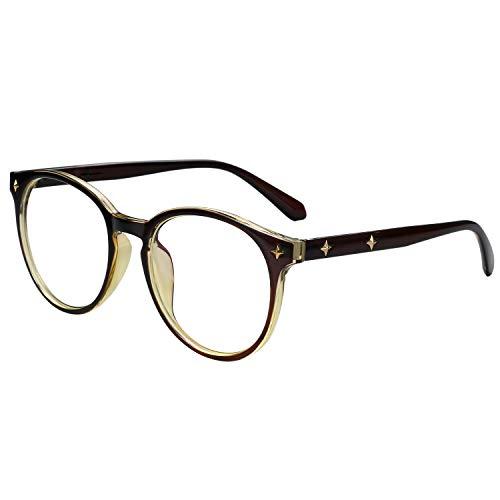 Aroncent ブルーライトカット メガネ 丸 アンティーク おしゃれ PCメガネ 眼鏡 メンズ レディース カジュアル ビジネス 携帯用 軽量 メガネ拭き ケース収納 携帯 TVやパソコン適用 友達 同僚 彼氏彼女 家族プレゼント