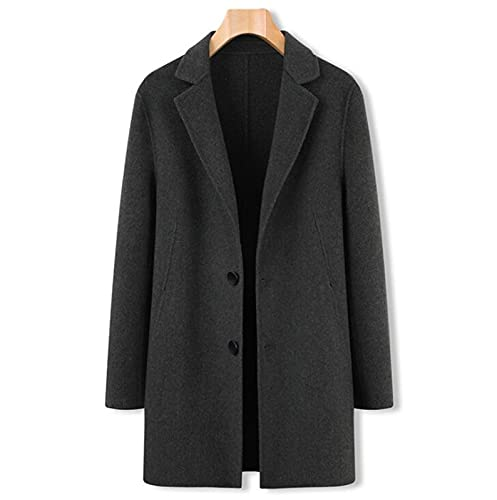 Męska wiatrówka wełniana płaszcz,żakiet grochowy,zima jednopierierska moda mody kurtka,długie ciepłe dorywczo płaszcz (Color : Green, Size : XL)