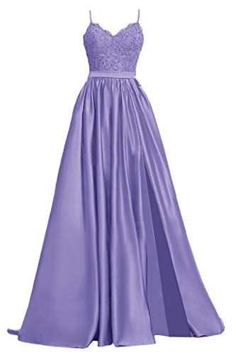 APXPF Women's Lace Prom Dresses Long Satin Slit Formal Evening Gowns with Pockets Lavender US8