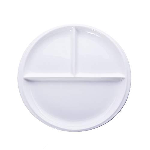 Onepine Plato De Porcelana, Platos Redondo de Porcelana con 3 Compartimentos, Delicado y Elegante