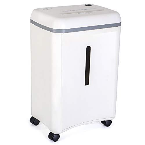 WOLVERINE SD9101 - Trituradora de documentos de alta seguridad (8 hojas, microcorte para papel pesado y tarjetas de crédito, ultra silenciosa, con un cubo de basura extraíble de 17 L, color blanco)