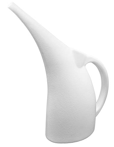 Pure White 1/2 Gallon Watering Can for Indoor and Outdoor house plants, flower pots, herbs and vegetable gardens   100% Recyclable Cute Plastic Watering Pot   Shatterproof   Ergonomic   Lightweight  