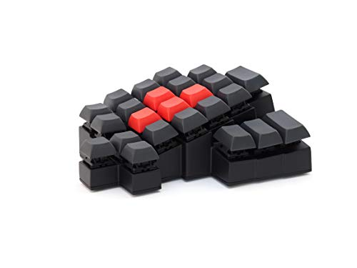 Periloot Caravel Mechanical Gaming Keypad - Ergonomic 'WASD' Design - Cherry MX Browns/Clears - Customizable Keymap (Black (Red WASD))