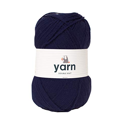 Korbond 100g Navy Double-Knit Acrylic (Available in 27 Colours) -Lightweight, Hypoallergenic & Durable Yarn – Ideal for Jumpers, Blankets, Baby Garments, Furnishings, Weaving, Knitting & Crochet, 100%