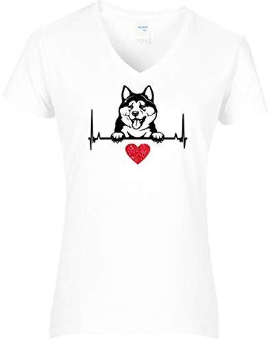 BlingelingShirts - Maglietta da donna con scritta 'I Love My Akita' 'Akita' e cuore rosso bianco L