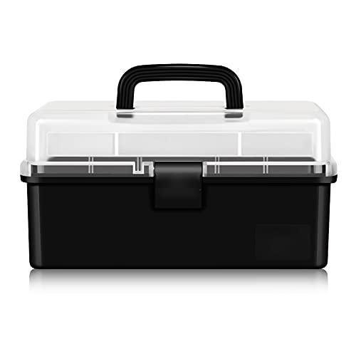 Cassetta porta attrezzi Box Tool Box Plastic Organizzatori trasparenti per Art Supply Craft o Medical Storage Toolbox con vassoio a 3 strati pieghevole rimovibile Cassetta Porta Utensili