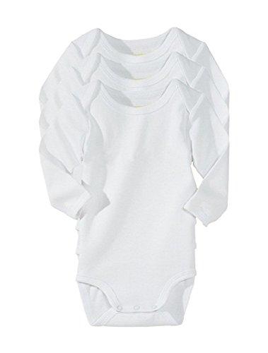 Body niemowlęce / baby grow/kamizelka 100% bawełna biały długi rękaw opakowanie wielopak 0-3-6-9-12 (opakowanie 3 szt.) (3-6)