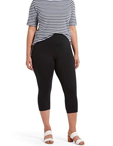 No Nonsense Women's Cotton Lounge Capri Legging with Tech Pocket, Black, XL