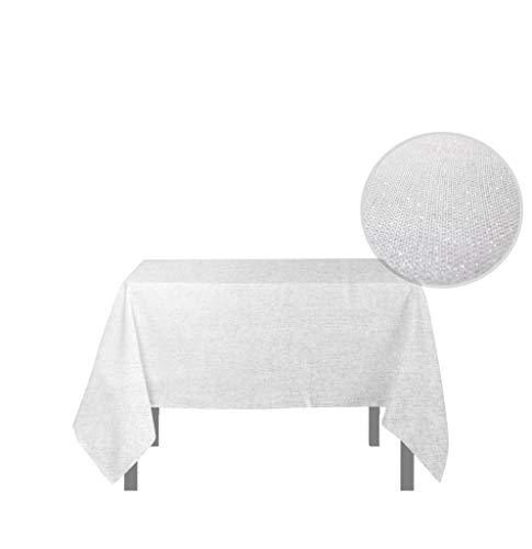 Soleil d'ocre Bella Nappe Carrée, anti-tâches, Polyester, Blanc, 180x180 cm