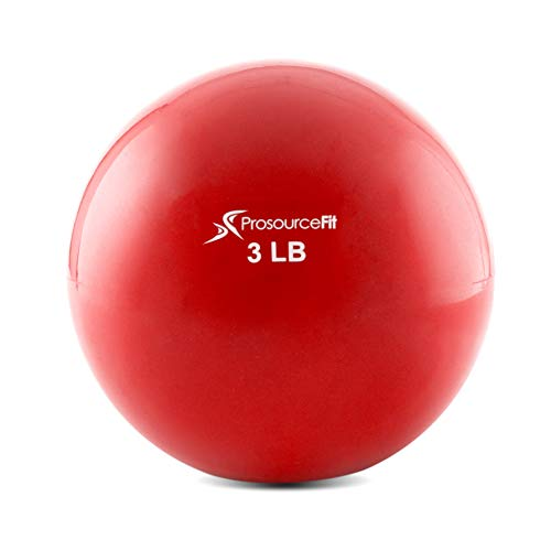 ProsourceFit Weighted Toning Exercise Balls for Pilates, Yoga, Strength Training and Physical Therapy, 3 lb, Red