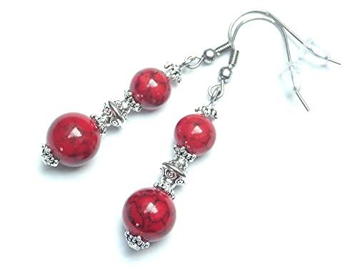 Boucles d'oreilles pendantes Thurcolas style chic et classique en turquoise reconstituée rouge et acier inoxydable