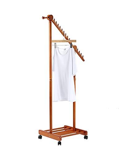 Kapstok Vloerstaande Coat kapstok massief houten Rod Type Schoenen opslag plank met wielen, 3 kleuren, 45 * 45 * 155 cm hangers (Color : Honey Color)