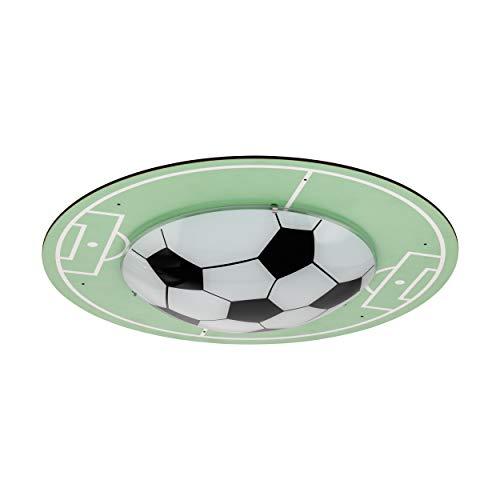 EGLO TABARA Deckenlampe, Kinderlampe mit Fußball Motiv, Deko für Jungen und Mädchen, Deckeleuchte Ø 40 cm für Kinderzimmer grün/Weiss, Holz, 60 W