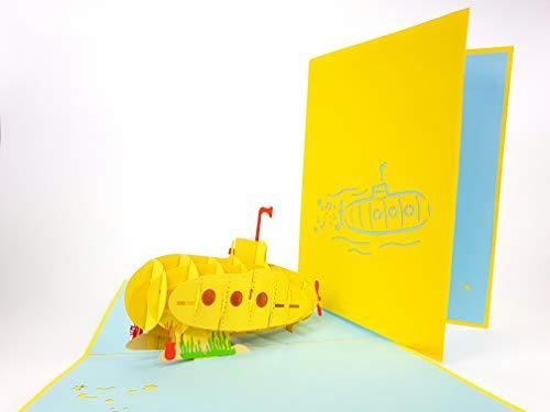 U-Boot 3D Pop Up Grußkarte handgefertigt Happy Birthday Hochzeit Jahrestag Freundschaft Merry Christmas Thanksgiving Thank You Best Wish Good Luck Happy New Year Valentinstag Rot