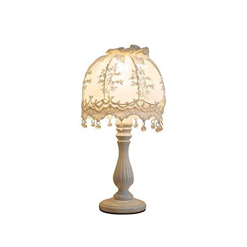 Table Lamp Massief Houten Tafel Lamp, landelijke stijl kant Lace tafellamp slaapkamer Nachtkastje Lamp Afneembare Lampbedekking Geschikt for Bookshelf, woonkamer, slaapkamer Dressing Table (wit)