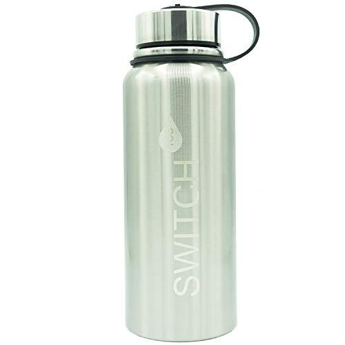 SwitchToo EifelTrink Edelstahl Wasserflasche (BPA Frei) | Sport, Kinder, Schule, Wandern, Camping (Edelstahl, 800 ml)
