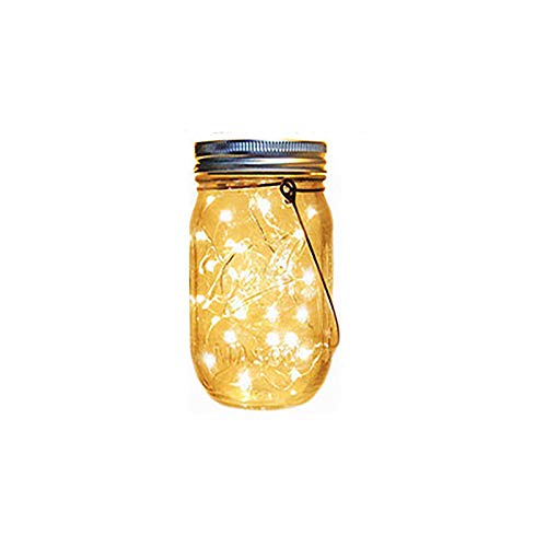 Solar Powered Lanterns Outdoor,Ovker 20 LED Solar Mason Jar Lights,Waterproof and 8 Modes Fairy String Light,Tree Lights Outdoor Hanging,for Room,Patio,Garden,Party,Wedding,Christmas(Warm White)